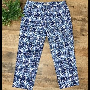 Milly Cropped Pants Blue & White Patterned Size 6